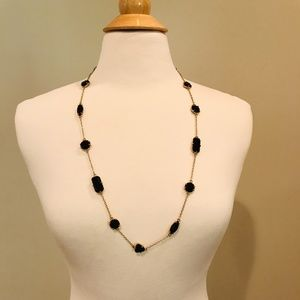 Kate Spade Long Necklace Gold- Black Accent Gems
